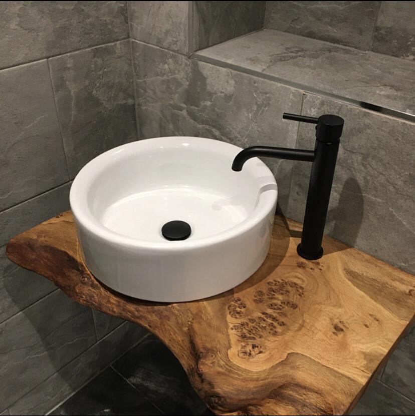 Live Edge Solid Character Rustic wood Bespoke Rustic wash stand sink unit bathroom vanity unit Wooden vanity countertop shelf