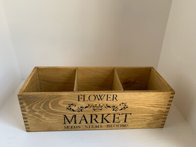 Flower Market Fresh Herb flower planter display window box personalised gift decorative shabby chic wooden box