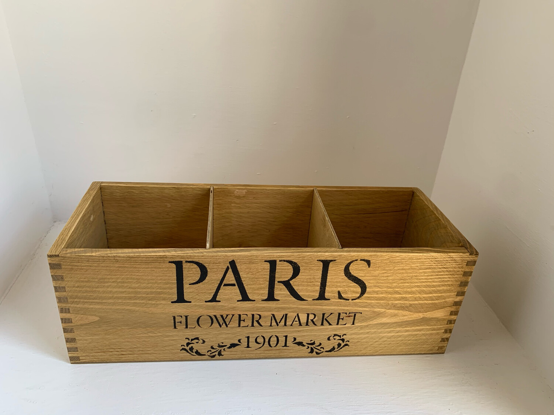 """Paris Flower Market"" Fresh Herb flower planter display window box personalised gift decorative shabby chic wooden box"