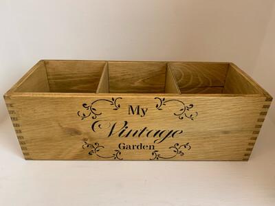 """My Vintage garden"" Fresh Herb flower planter display window box personalised gift decorative shabby chic wooden box"