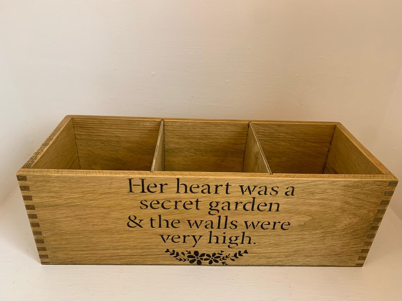 """Her Heart Was A Secret Garden "" Fresh Herb flower planter display window box personalised gift decorative shabby chic wooden box"