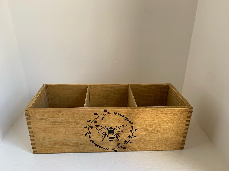 """Bee "" Garden Fresh Herb flower planter display window box personalised gift decorative shabby chic wooden box"