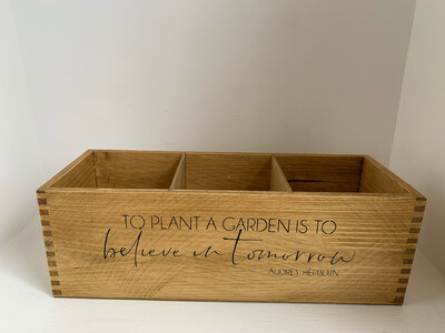 """""""To Plant A Garden """" Fresh Herb flower planter display window box personalised gift decorative shabby chic wooden box"""