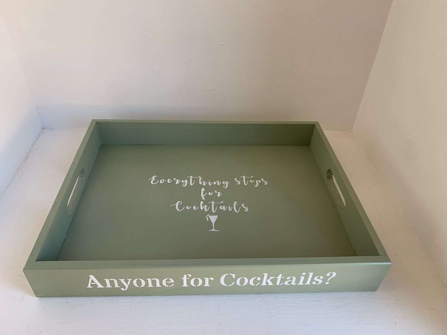 Anyone for Cocktails?  decorative shabby chic wooden tray  Free UK P&P