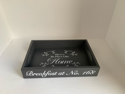 Personalised Breakfast at Name decorative  shabby chic wooden tray  Free UK P&P