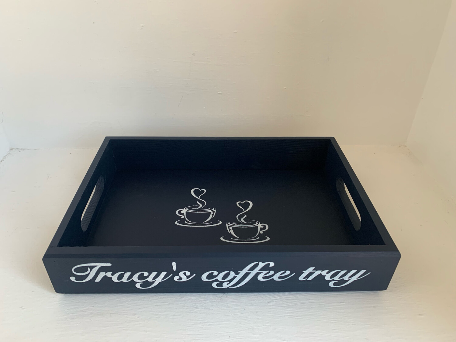 Personalised Coffee Tray  shabby chic wooden tray  Free UK P&P