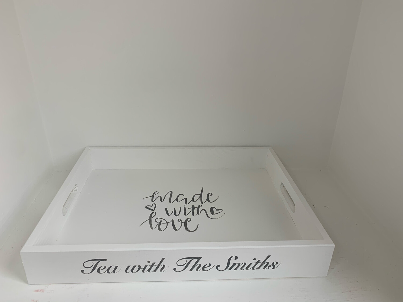 Personalised Tea Tray  shabby chic wooden tray  Free UK P&P