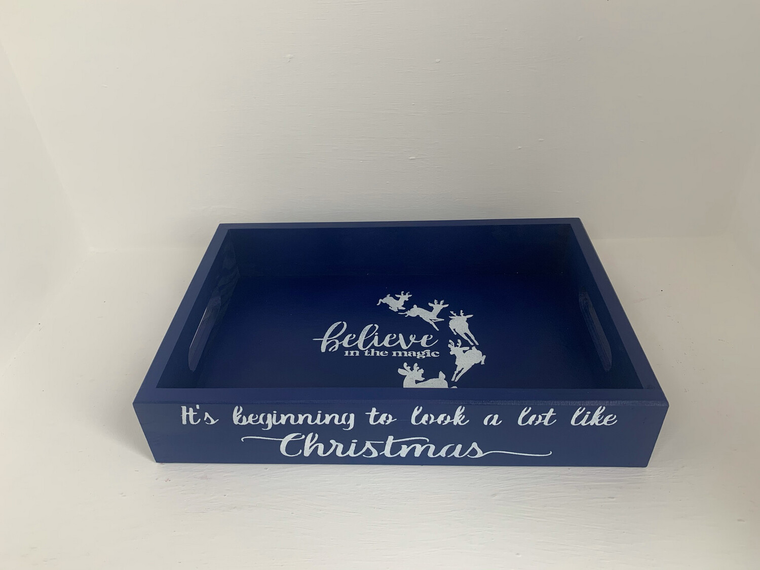 Its Beginning To Look A Lot Like Christmas decorative shabby chic wooden drinks tray