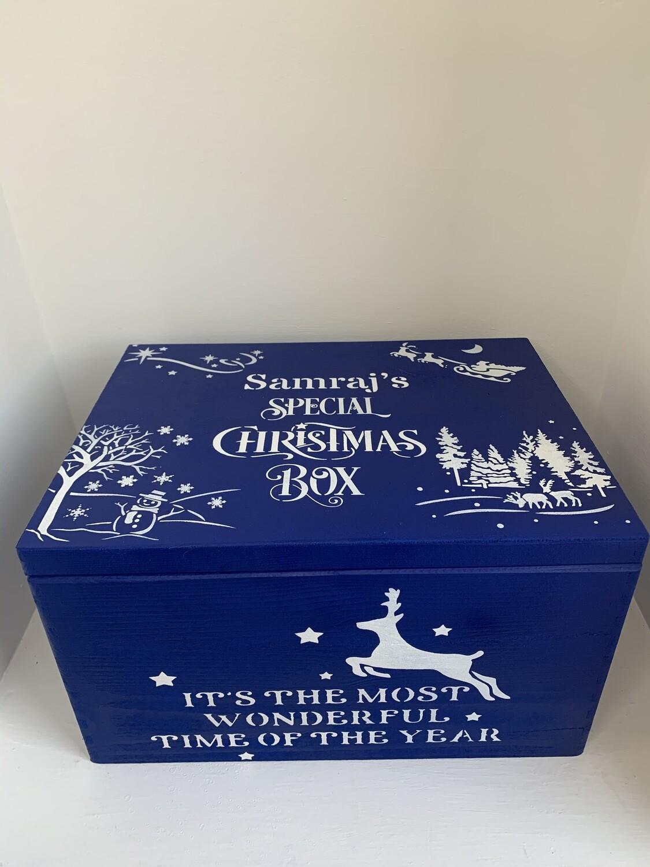 Royal Blue Large Lidded Christmas or Christmas Eve box
