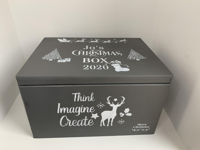 Dark Grey Personalised Large Lidded Christmas or Christmas Eve solid woodbox