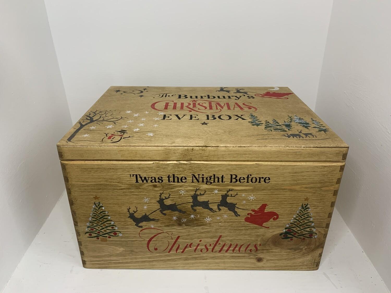 Dark Wood Large Lidded Christmas or Christmas Eve box