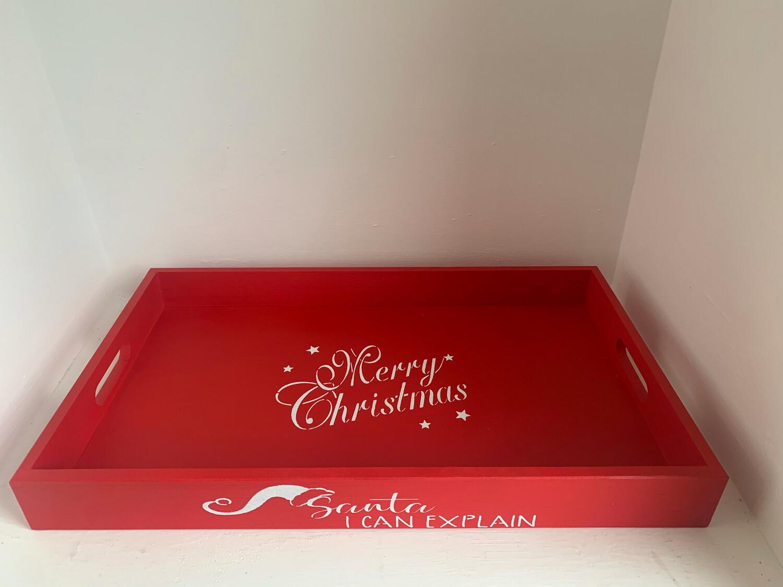 Santa I Can Explain  Santas treats Christmas Eve Tray decorative shabby chic wooden drinks tray