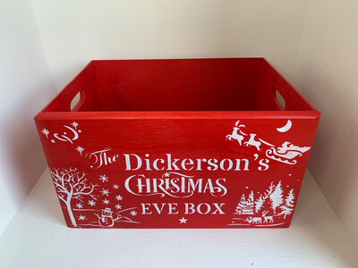 Large Red Christmas Eve Or Christmas box Solid Wood Box