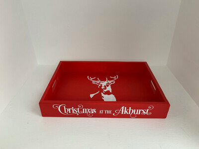 Personalised  Christmas at Tray decorative  shabby chic wooden tray  Free UK P&P