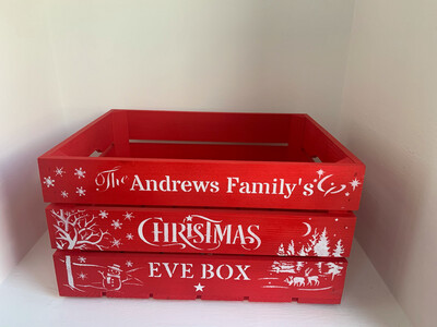Large Red Christmas Eve or Christmas Box Crate