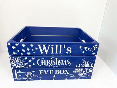 Large Royal Blue Christmas Eve Or Christmas Box Crate