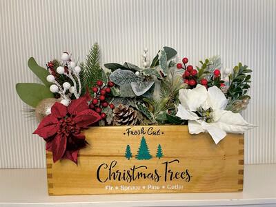 Fresh Cut Christmas Tree Garden Fresh Herb flower planter display window box personalised gift decorative shabby chic wooden box
