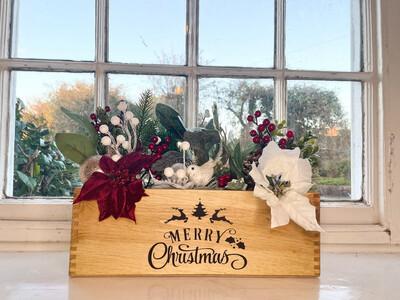 Merry Christmas Christmas Tree Garden Fresh Herb flower planter display window box personalised gift decorative shabby chic wooden box