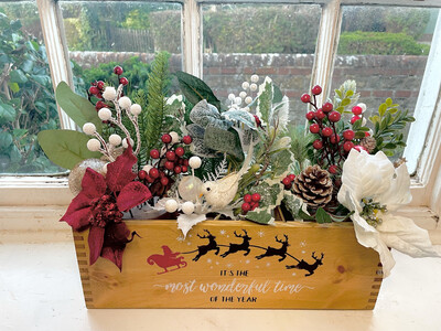 It's The Most Wonderful Time Of The Year Christmas Tree Garden Fresh Herb flower planter display window box personalised gift decorative shabby chic wooden box