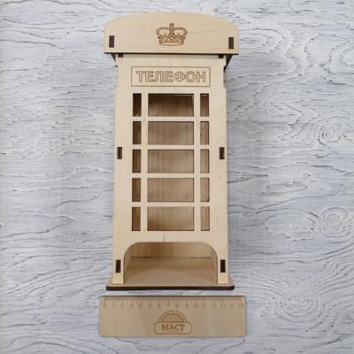 Чайный домик Телефонная будка 10х10х25 см фанера 4