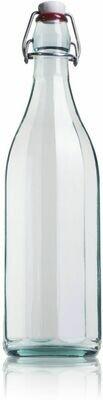 Bouteille en verre facettée 1L
