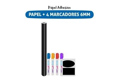 Plackit Papel Adhesivo Tipo Pizarra + 4 Marcadores De Tiza Líquida