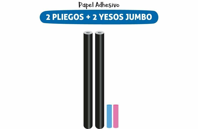 Plackit 2 Pliegos Papel Adhesivo Tipo Pizarra + 2 Yesos Jumbo