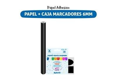 Plackit Papel Adhesivo Tipo Pizarra + Caja De Marcadores