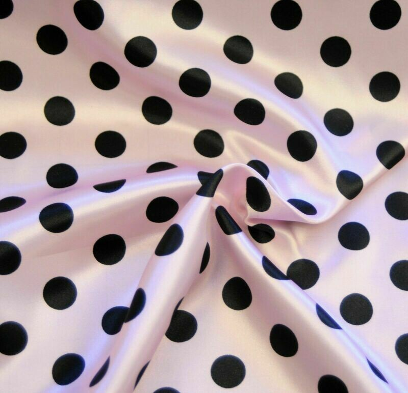 Polka Dot Pink w Black SHINY SATIN 100% Polyester Pantie Lingerie Fabric 60