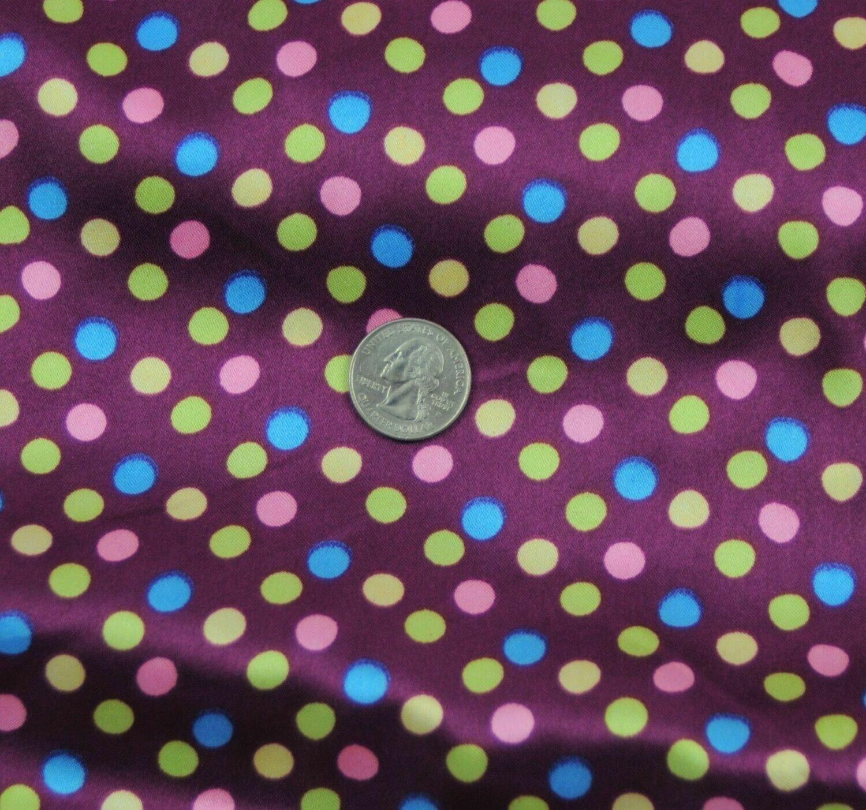 Polka Dot purple SHINY SATIN 100% Polyester Pantie Lingerie Fabric 60