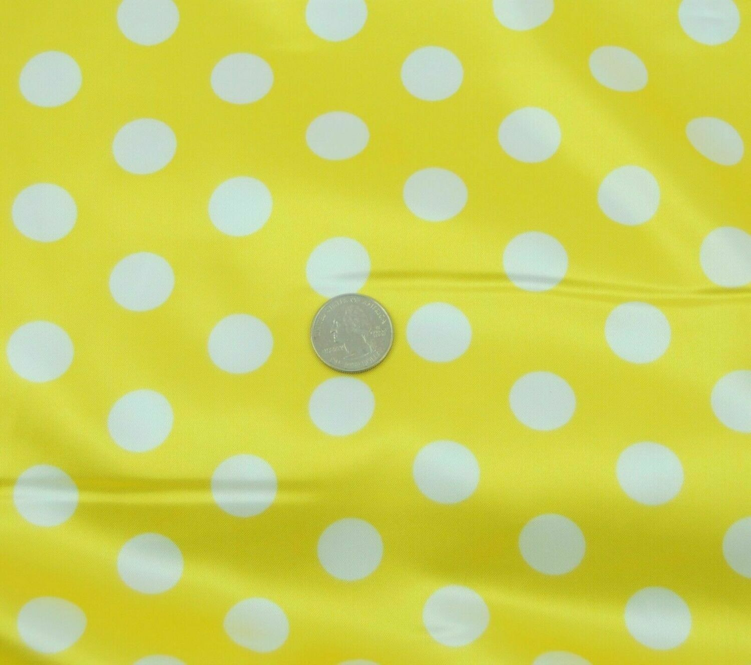 Polka Dot yellow w white SHINY SATIN 100%Polyester Pantie Lingerie Fabric 60