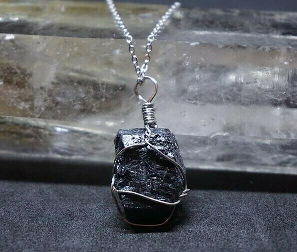 Wire Wrapped  Black Tourmaline Pendant