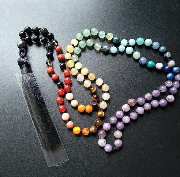 Hand Knotted 108  Chakra Prayer Beads