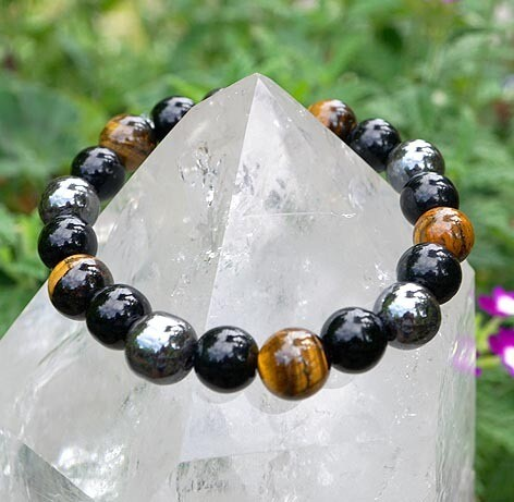 Hematite, Tiger Eye and Obsidian Bracelet