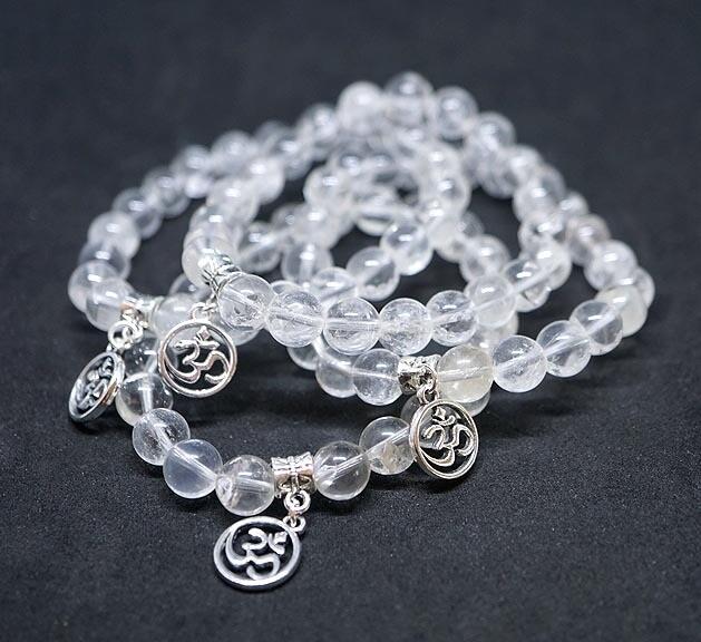 Clear Quartz with OM Charm Bracelets