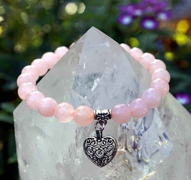 Rose Quartz with Heart Charms Bracelets