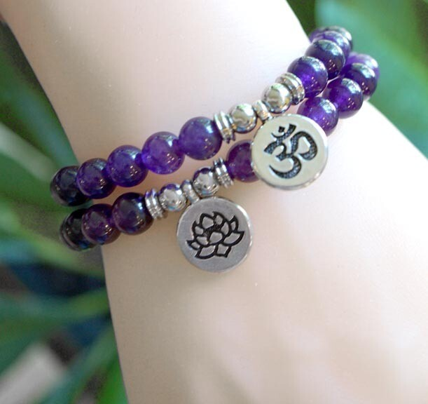 Amethyst with Lotus  and OM Charm Bracelets