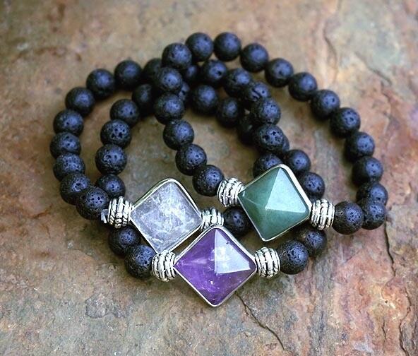 Gemstone Pyramid Bracelets