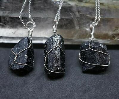 Wire wrapped Black Tourmaline Pendants