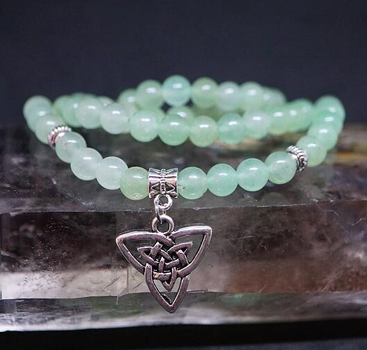 Green Aventurine 108 Prayer Beads with Celtic Knot