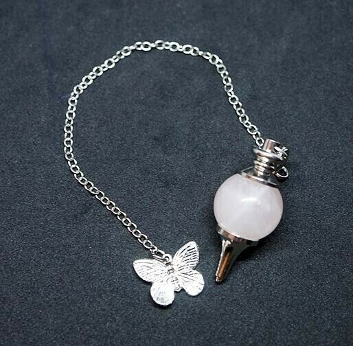 Rose Quartz Butterfly Pendulum