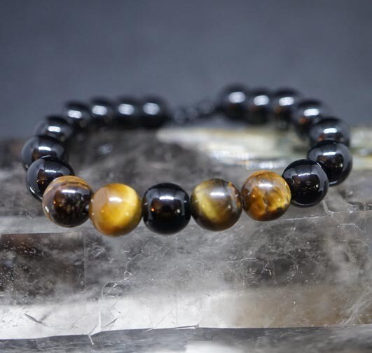 Tiger Eye and Obsidian Adjustable Bracelet