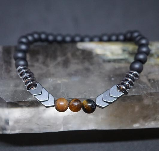Tiger Eye and Hematite Bracelet