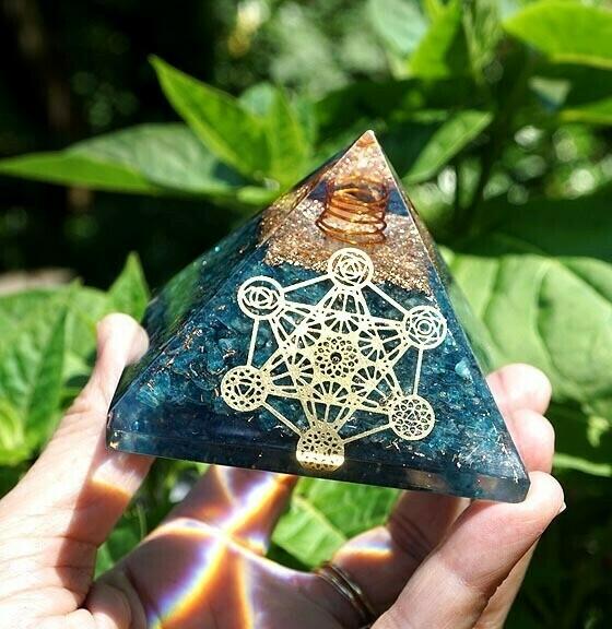 Orgone Pyramid in Blue Apatite Metatron