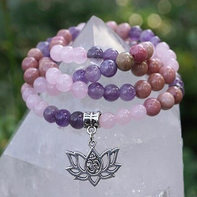 108 Prayer Beads in Rose Quartz, Amethyst and Rhodonite