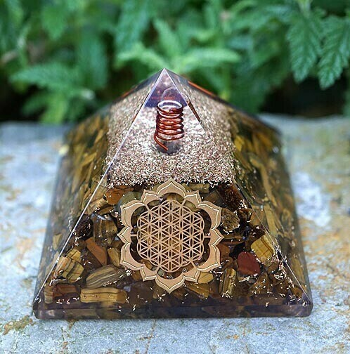 Orgone Pyramid in Tiger Eye with Flower of Life