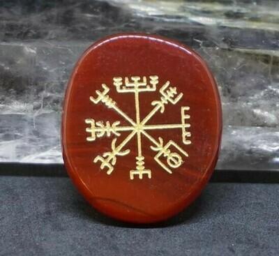 Vegvisir Viking Compass Palm Stone in Carnelian