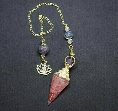 Orgone Lotus Pendulum in Rose Quartz