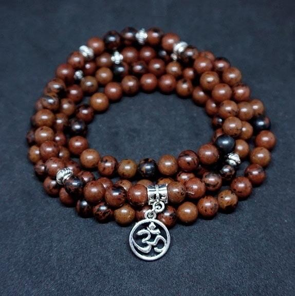 108 Prayer Beads in Mahogany Obsidian with OM