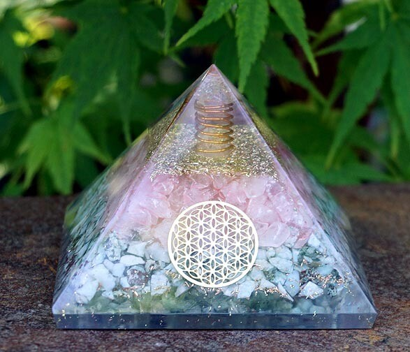 Orgone Pyramid in Larimar and Rose Quartz